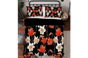 3D Flower Leaves Quilt Cover Set Bedding Set Pillowcases 176-Single