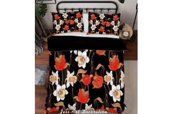 3D Flower Leaves Quilt Cover Set Bedding Set Pillowcases 176-Queen