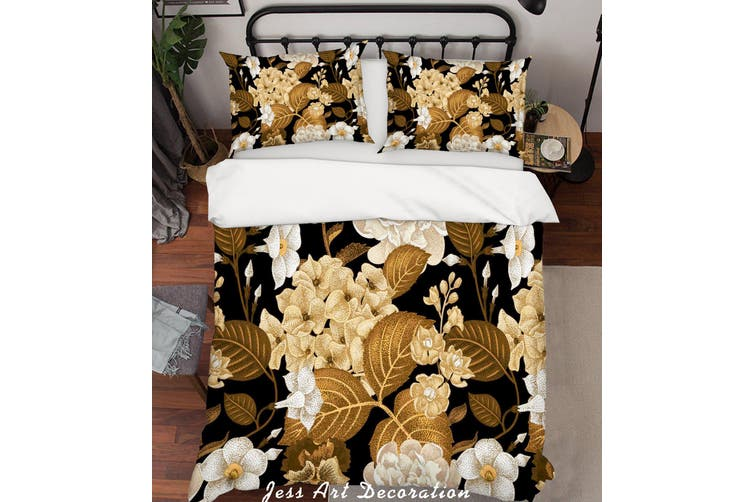 3D Flower Leaves Quilt Cover Set Bedding Set Pillowcases 185-Queen