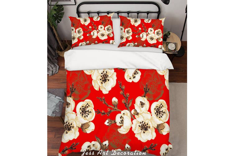 3D Floral Red Quilt Cover Set Bedding Set Pillowcases 184-Single