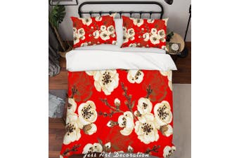 3D Floral Red Quilt Cover Set Bedding Set Pillowcases 184-King