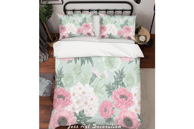3D Pink Floral Pattern Quilt Cover Set Bedding Set Pillowcases 183-Single