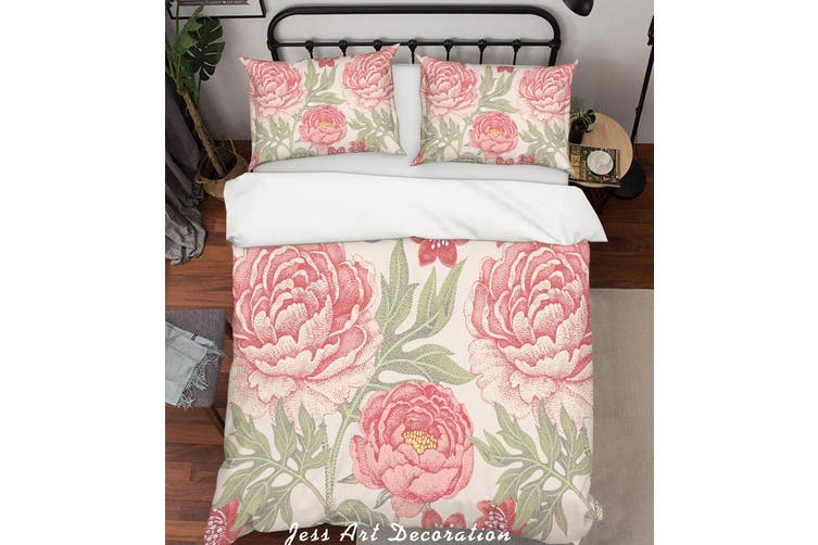 3D Pink Peony Quilt Cover Set Bedding Set Pillowcases 182-Queen