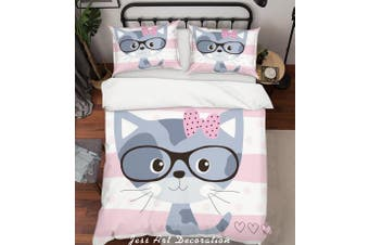 3D Cartoon Cat Grey Quilt Cover Set Bedding Set Pillowcases 179-Single