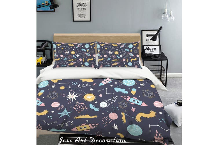 3D Cartoon Space Universe Quilt Cover Set Bedding Set Pillowcases 72-Queen