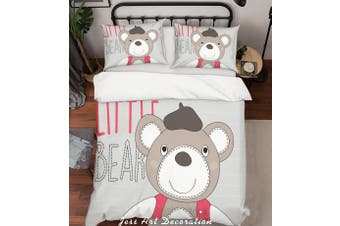 3D Cartoon Grey Bear Quilt Cover Set Bedding Set Pillowcases 168-Single