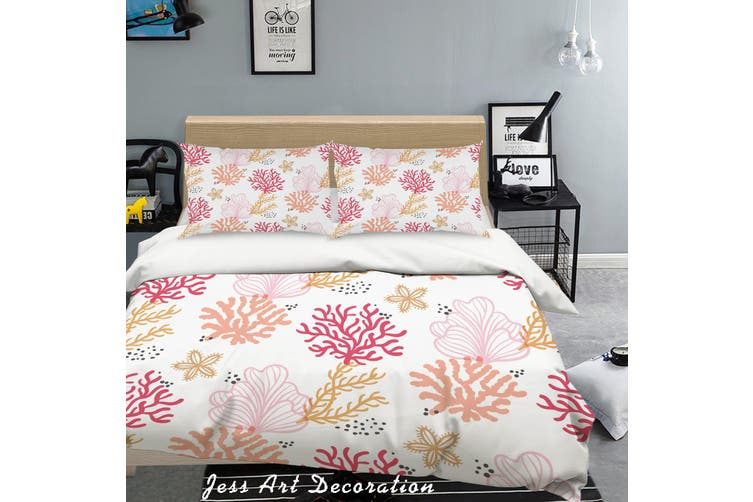 3D Pink Coral Quilt Cover Set Bedding Set Pillowcases 34-King