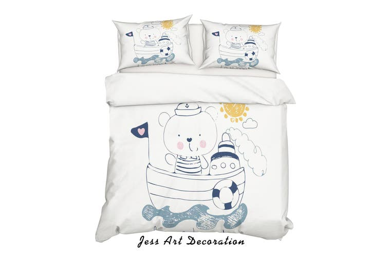 3D Cartoon Bear Boat Quilt Cover Set Bedding Set Pillowcases 162-Queen