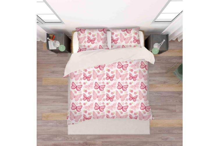 3D Red Butterfly Quilt Cover Set Bedding Set Pillowcases 57-Single