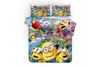 3D Film Minions Quilt Cover Set Bedding Set Pillowcases 210-Single