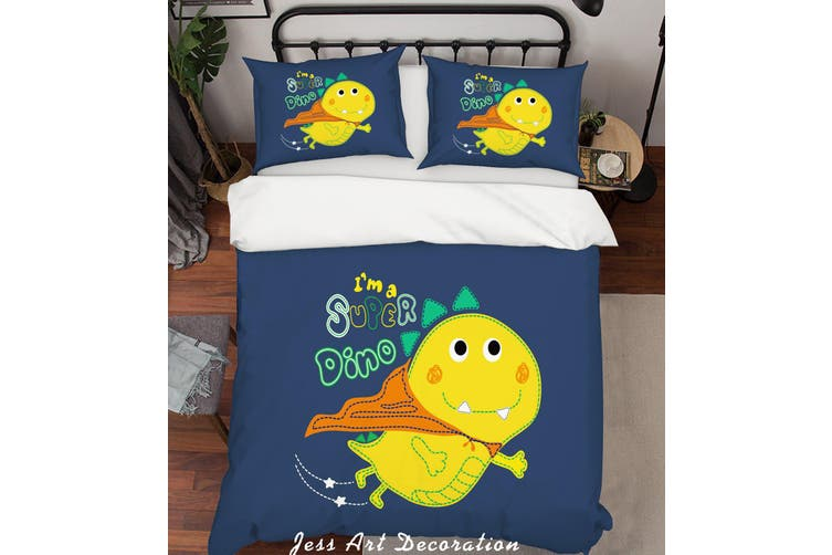 3D Cartoon Dinosaur Yellow Quilt Cover Set Bedding Set Pillowcases 158-Queen