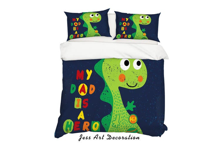 3D Cartoon Dinosaur Green Quilt Cover Set Bedding Set Pillowcases 157-Double