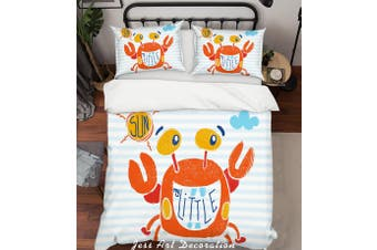 3D Cartoon Crab Red Quilt Cover Set Bedding Set Pillowcases 155-King