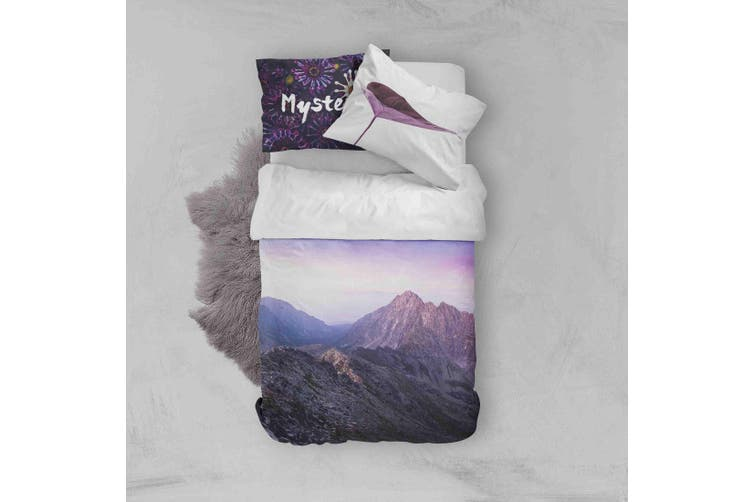 3D Purple Sky Mountain Quilt Cover Set Bedding Set Pillowcases 152-Queen