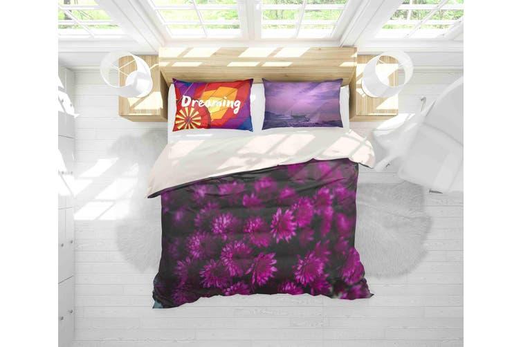 3D Purple Floral Pattern Quilt Cover Set Bedding Set Pillowcases 151-Single