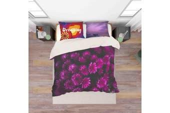 3D Purple Floral Pattern Quilt Cover Set Bedding Set Pillowcases 151-Double