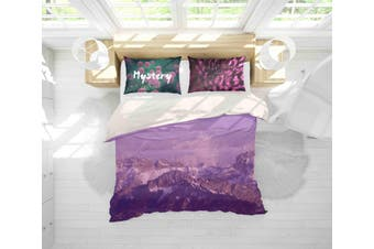 3D Purple Sky Mountain Quilt Cover Set Bedding Set Pillowcases 149-Double