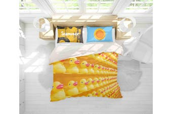 3D Yellow Toy Duck Quilt Cover Set Bedding Set Pillowcases 145-King