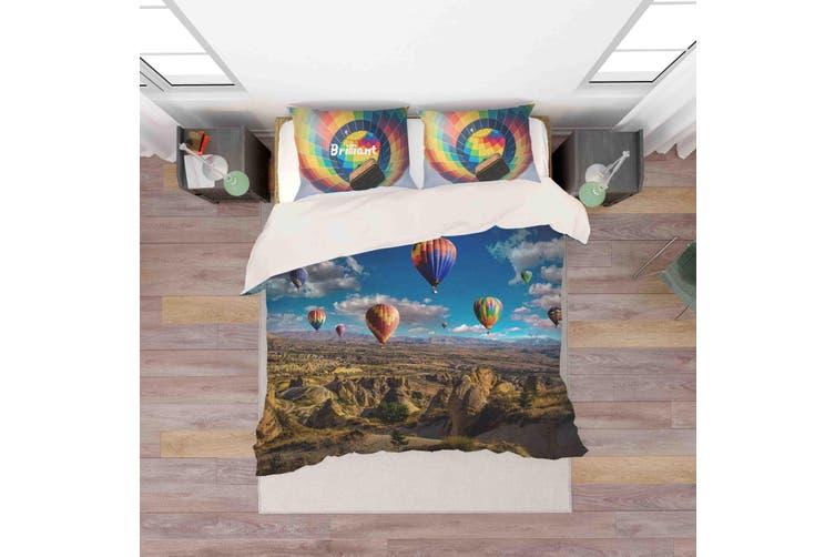 3D Hot Air Balloon Blue Sky Quilt Cover Set Bedding Set Pillowcases 141-Queen