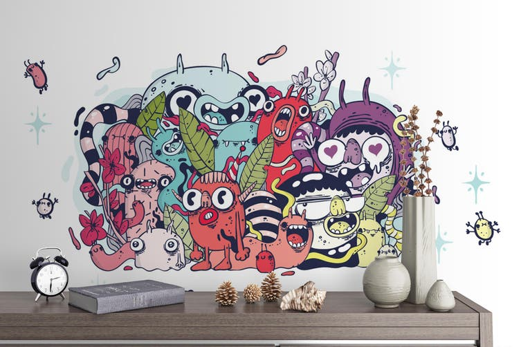 3d abstract monster graffiti wall mural wallpaper 283 Preminum Non-Woven Paper-W: 525cm X H: 295cm