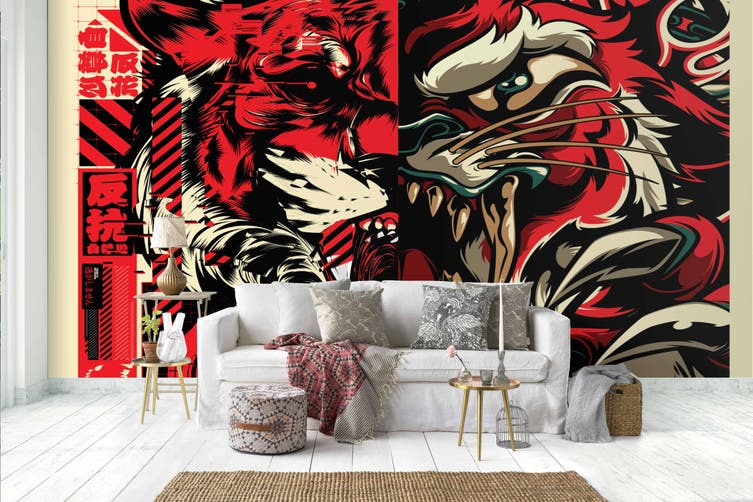 3d abstract tiger lion graffiti wall mural wallpaper 279 Preminum Non-Woven Paper-W: 210cm X H: 146cm
