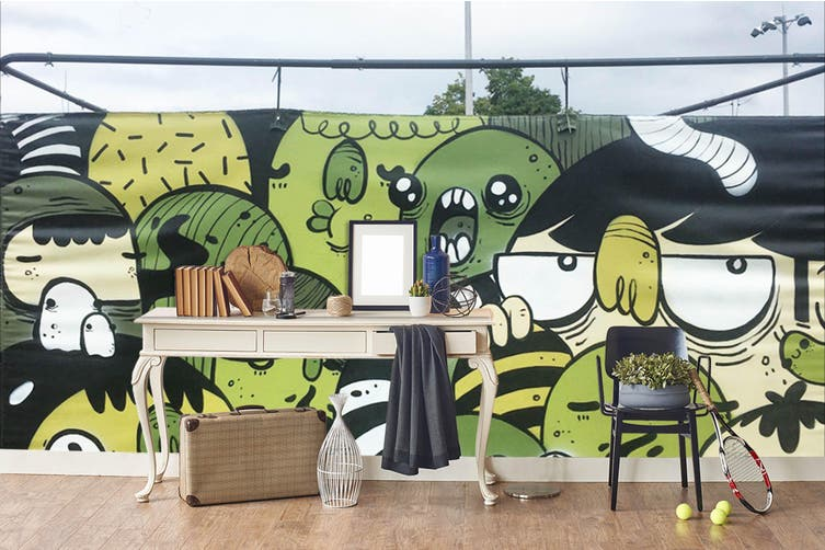 3d cartoon monster graffiti wall mural wallpaper 273 Preminum Non-Woven Paper-W: 420cm X H: 260cm