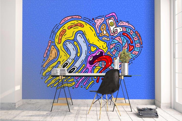 3d blue abstract sign graffiti wall mural wallpaper 270 Preminum Non-Woven Paper-W: 420cm X H: 260cm