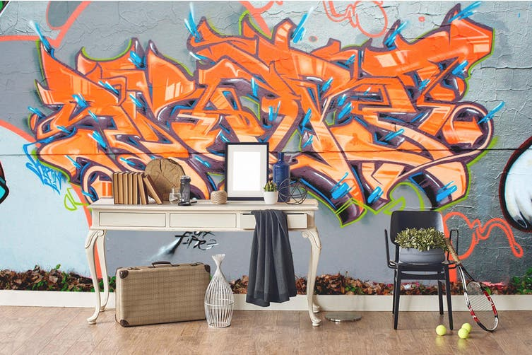 3d grey background orange abstract sign wall mural wallpaper 261 Preminum Non-Woven Paper-W: 320cm X H: 225cm