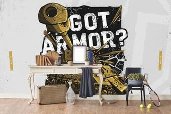 3d golden tank white slogan wall mural wallpaper 259 Preminum Non-Woven Paper-W: 420cm X H: 260cm