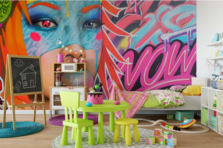 3d young girl face colorful graffiti wall mural wallpaper 260 Preminum Non-Woven Paper-W: 420cm X H: 260cm