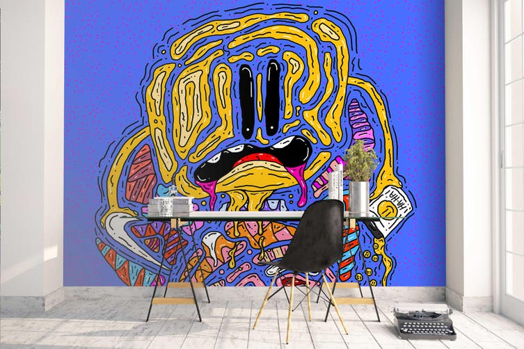 3d abstract cartoon graffiti wall mural wallpaper 257 Preminum Non-Woven Paper-W: 320cm X H: 225cm