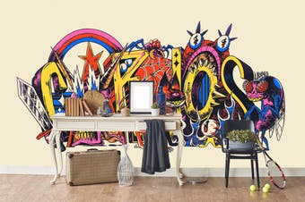 3d abstract colorful cartoon logo graffiti wall mural wallpaper 256 Preminum Non-Woven Paper-W: 320cm X H: 225cm