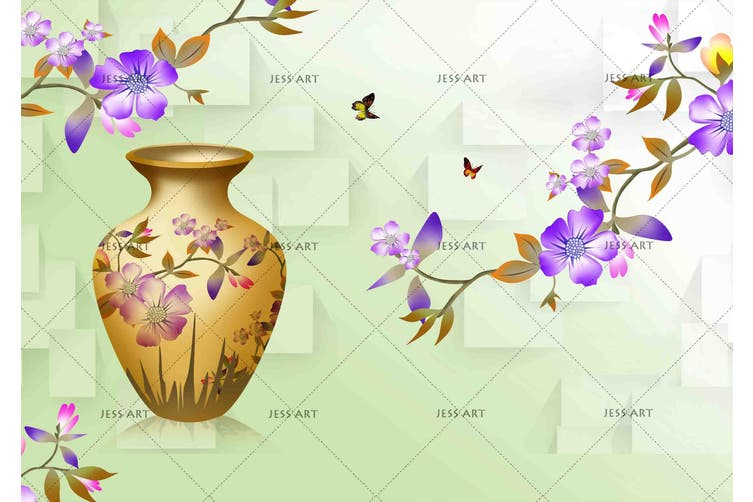 3d blossom butterfly vase wall mural wallpaper 195 Preminum Non-Woven Paper-W: 210cm X H: 146cm