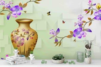 3d blossom butterfly vase wall mural wallpaper 195 Preminum Non-Woven Paper-W: 320cm X H: 225cm