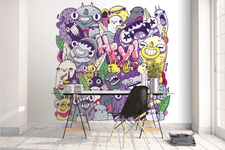 3d abstract monster family wall mural wallpaper 249 Preminum Non-Woven Paper-W: 420cm X H: 260cm