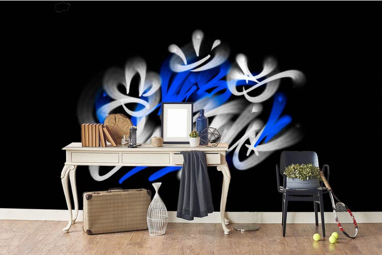 3d abstract blue white slogan wall mural wallpaper 246 Preminum Non-Woven Paper-W: 210cm X H: 146cm