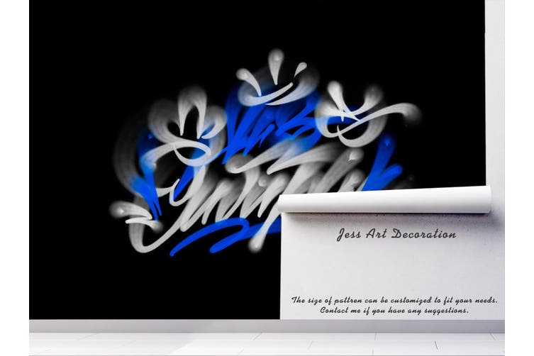 3d abstract blue white slogan wall mural wallpaper 246 Preminum Non-Woven Paper-W: 525cm X H: 295cm