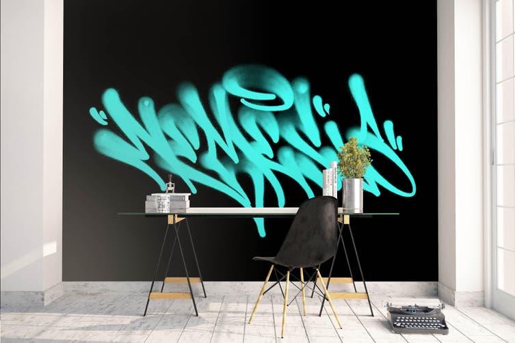 3d abstract blue slogan wall mural wallpaper 245 Preminum Non-Woven Paper-W: 420cm X H: 260cm