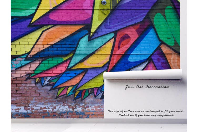 3d brick colorful abstract feather wall mural wallpaper 240 Preminum Non-Woven Paper-W: 320cm X H: 225cm