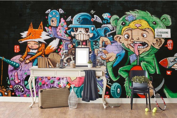 3d abstract skull monster graffiti wall mural wallpaper 241 Preminum Non-Woven Paper-W: 525cm X H: 295cm