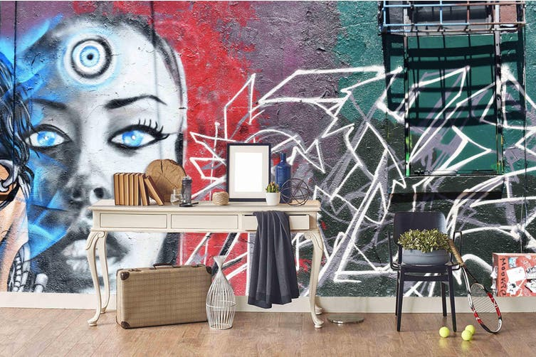 3d abstract witch face graffiti wall mural wallpaper 238 Preminum Non-Woven Paper-W: 320cm X H: 225cm