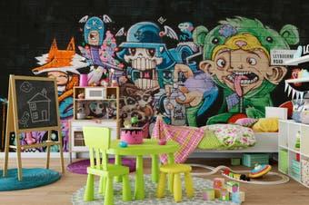 3d cartoon skull monster graffiti wall mural wallpaper 235 Preminum Non-Woven Paper-W: 210cm X H: 146cm