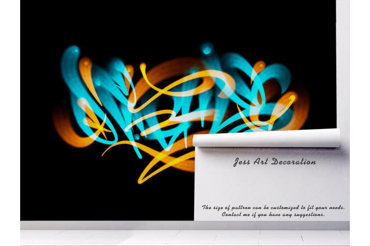3d abstract blue yellow slogan wall mural wallpaper 234 Preminum Non-Woven Paper-W: 210cm X H: 146cm