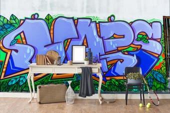 3d blue slogan green leaves graffiti wall mural wallpaper 232 Preminum Non-Woven Paper-W: 525cm X H: 295cm