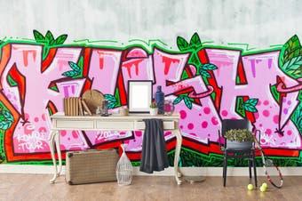 3d pink slogan green leaves graffiti wall mural wallpaper 229 Preminum Non-Woven Paper-W: 525cm X H: 295cm