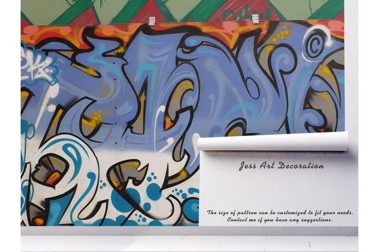 3d abstract blue art graffiti wall mural wallpaper 222 Preminum Non-Woven Paper-W: 210cm X H: 146cm