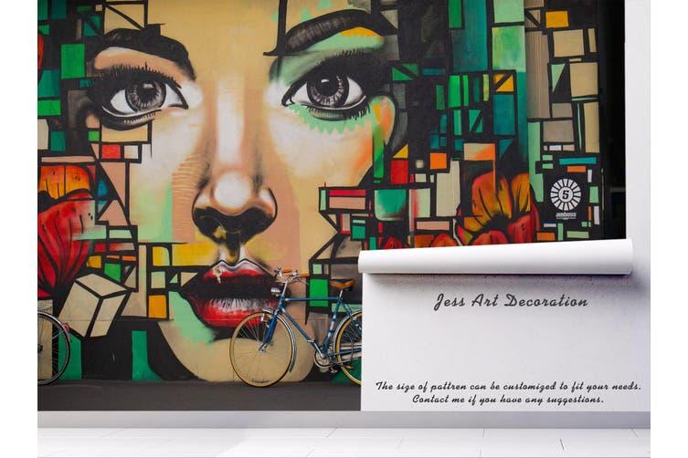 3d abstract girl face graffiti wall mural wallpaper 221 Preminum Non-Woven Paper-W: 320cm X H: 225cm