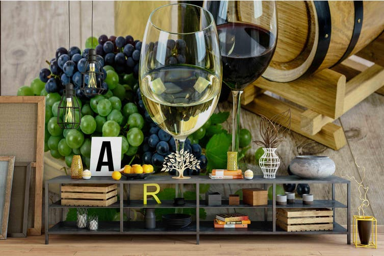 3d wine goblet grape wall mural wallpaper 180 Preminum Non-Woven Paper-W: 525cm X H: 295cm