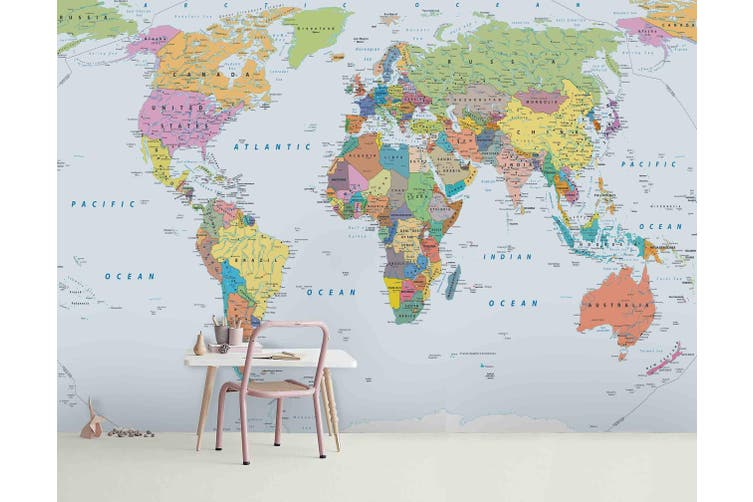 3d world map wall mural wallpaper 173 Preminum Non-Woven Paper-W: 525cm X H: 295cm