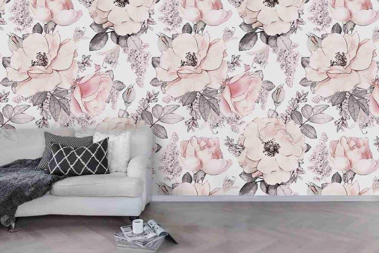 3d pink floral wall mural wallpaper 171 Preminum Non-Woven Paper-W: 210cm X H: 146cm